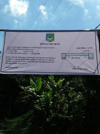 Pembangunan Jalan Beton Dusun Apit Aiq Menuju Dusun Geripak